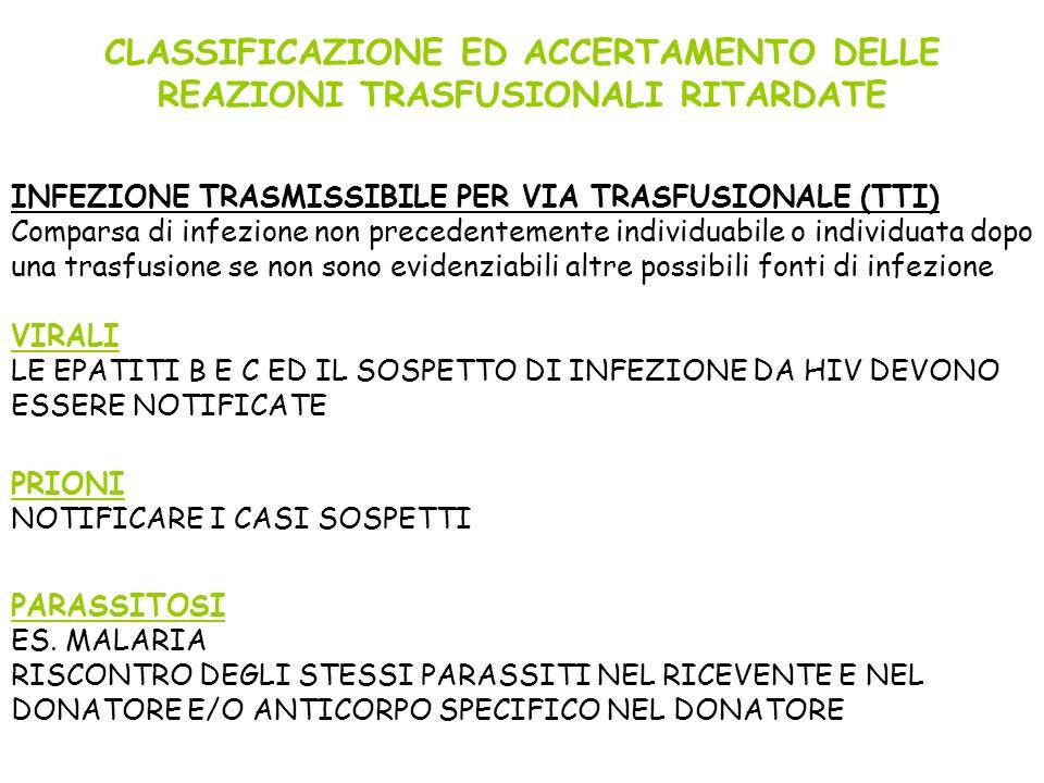 CLASSIFICAZIONE ED ACCERTAMENTO DELLE REAZIONI TRASFUSIONALI RITARDATE INFEZIONE TRASMISSIBILE PER VIA TRASFUSIONALE (TTI) Comparsa di infezione non p