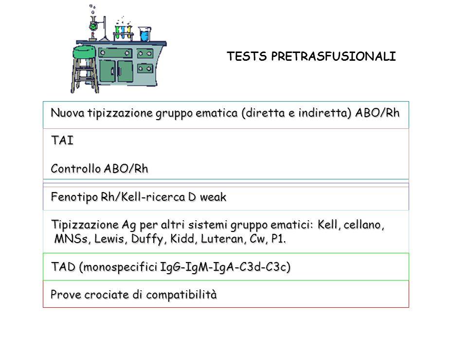 TESTS PRETRASFUSIONALI Nuova tipizzazione gruppo ematica (diretta e indiretta) ABO/Rh TAI Controllo ABO/Rh Fenotipo Rh/Kell-ricerca D weak Tipizzazion