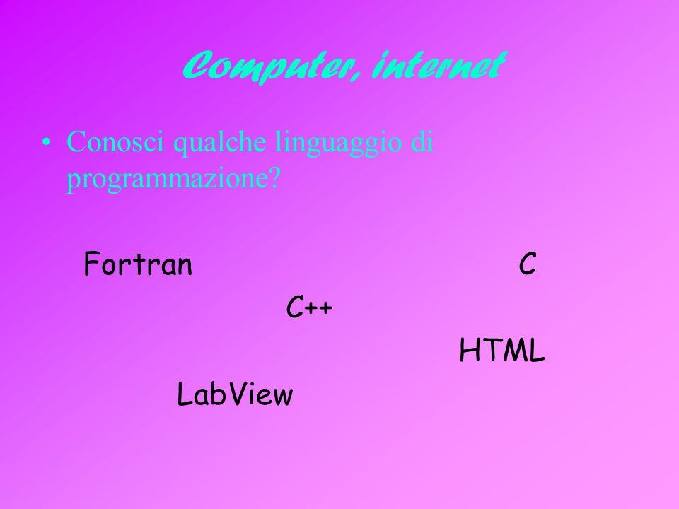 Computer, internet Conosci qualche linguaggio di programmazione? Fortran C C++ HTML LabView