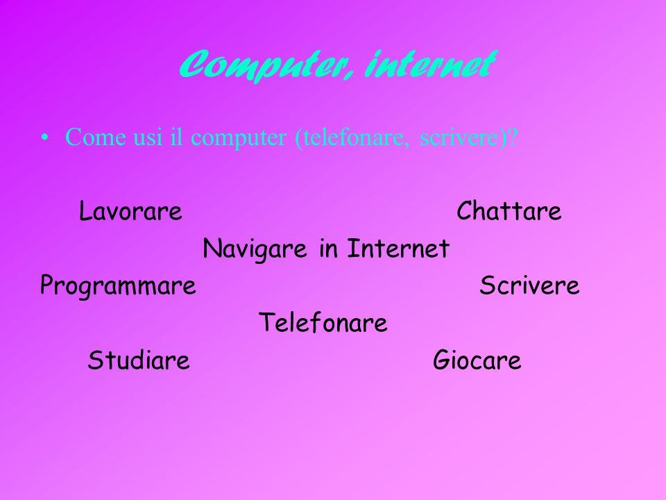 Computer, internet Come usi il computer (telefonare, scrivere).
