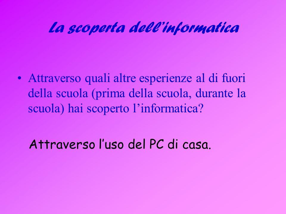 Computer, internet Che rapporto hai con il computer e con internet.