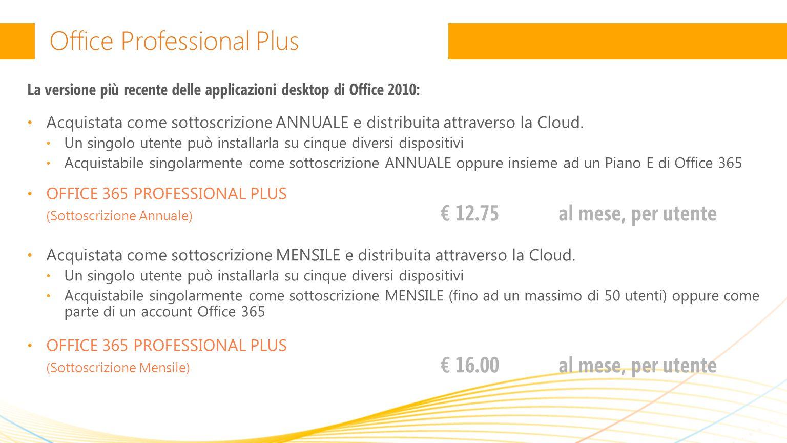 Office Professional Plus La versione più recente delle applicazioni desktop di Office 2010: Acquistata come sottoscrizione ANNUALE e distribuita attraverso la Cloud.