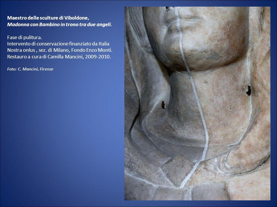 Maestro delle sculture di Viboldone, Madonna con Bambino in trono tra due angeli.
