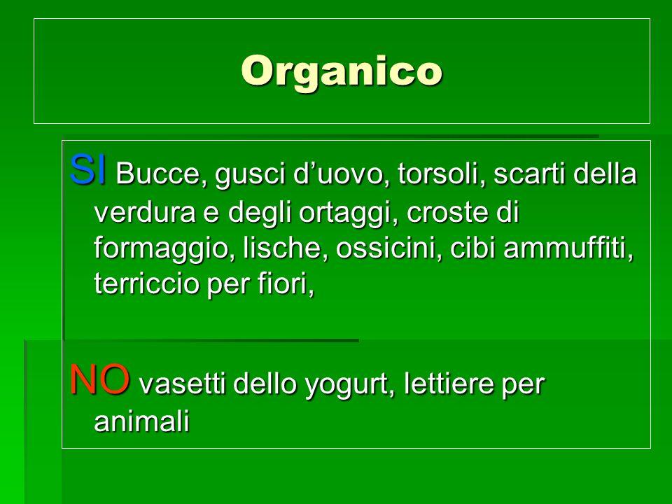 Organico SI Bucce, gusci duovo, torsoli, scarti della verdura e degli ortaggi, croste di formaggio, lische, ossicini, cibi ammuffiti, terriccio per fi