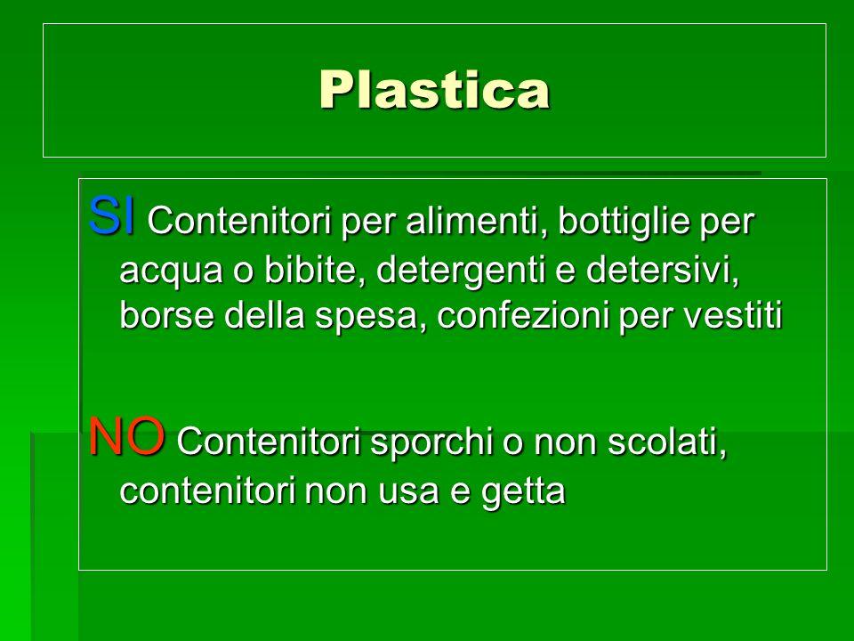 Plastica SI Contenitori per alimenti, bottiglie per acqua o bibite, detergenti e detersivi, borse della spesa, confezioni per vestiti NO Contenitori s