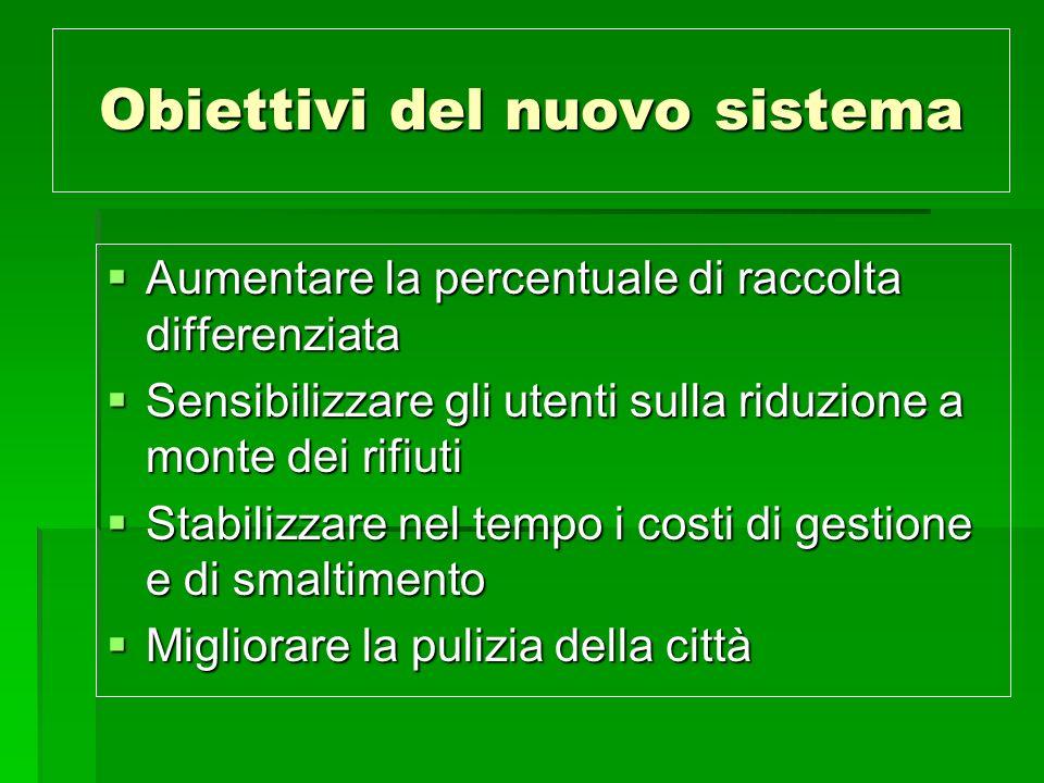 Obiettivi del nuovo sistema Aumentare la percentuale di raccolta differenziata Aumentare la percentuale di raccolta differenziata Sensibilizzare gli u