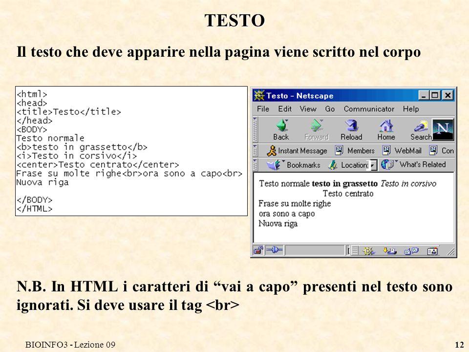 BIOINFO3 - Lezione 0912 TESTO Il testo che deve apparire nella pagina viene scritto nel corpo N.B.