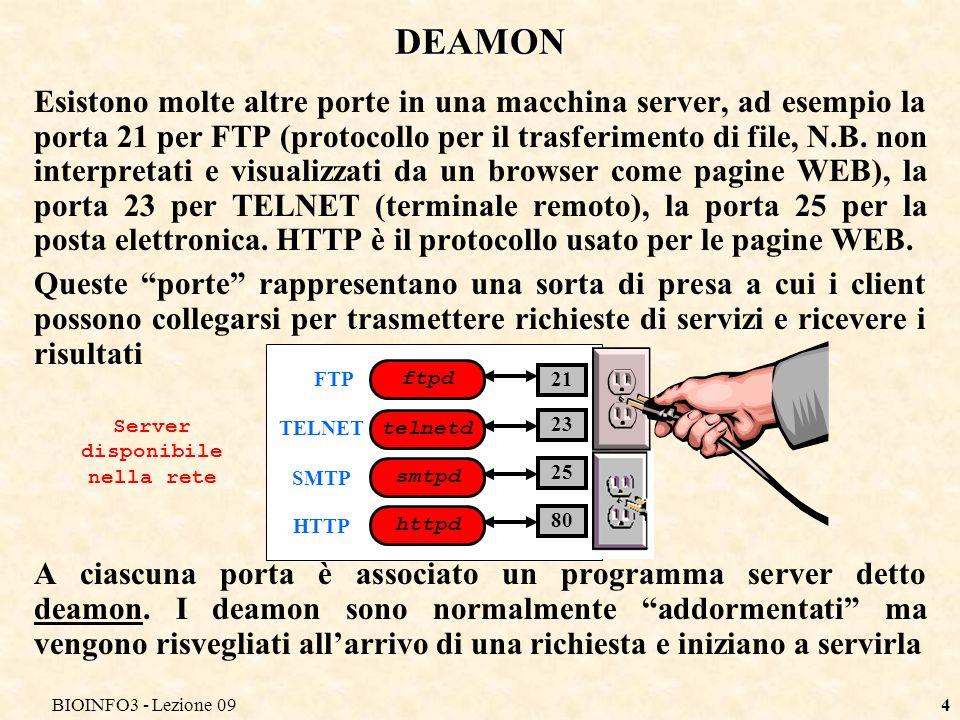 BIOINFO3 - Lezione 094 DEAMON Esistono molte altre porte in una macchina server, ad esempio la porta 21 per FTP (protocollo per il trasferimento di file, N.B.