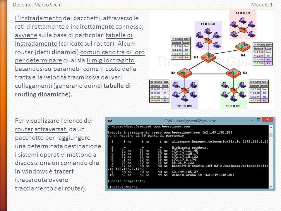 11 Docente: Marco Sechi Modulo 1 L'instradamento dei pacchetti, attraverso le reti direttamente e indirettamente connesse, avviene sulla base di parti