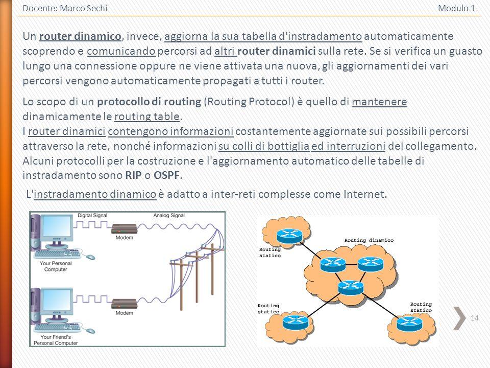 14 Docente: Marco Sechi Modulo 1 Un router dinamico, invece, aggiorna la sua tabella d'instradamento automaticamente scoprendo e comunicando percorsi