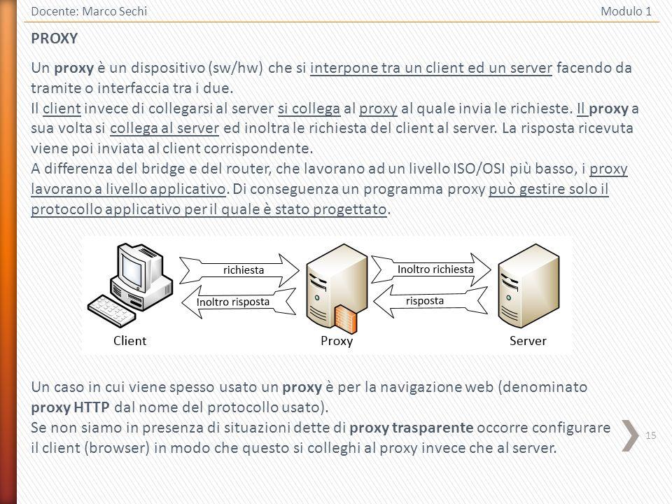 15 Docente: Marco Sechi Modulo 1 PROXY Un proxy è un dispositivo (sw/hw) che si interpone tra un client ed un server facendo da tramite o interfaccia