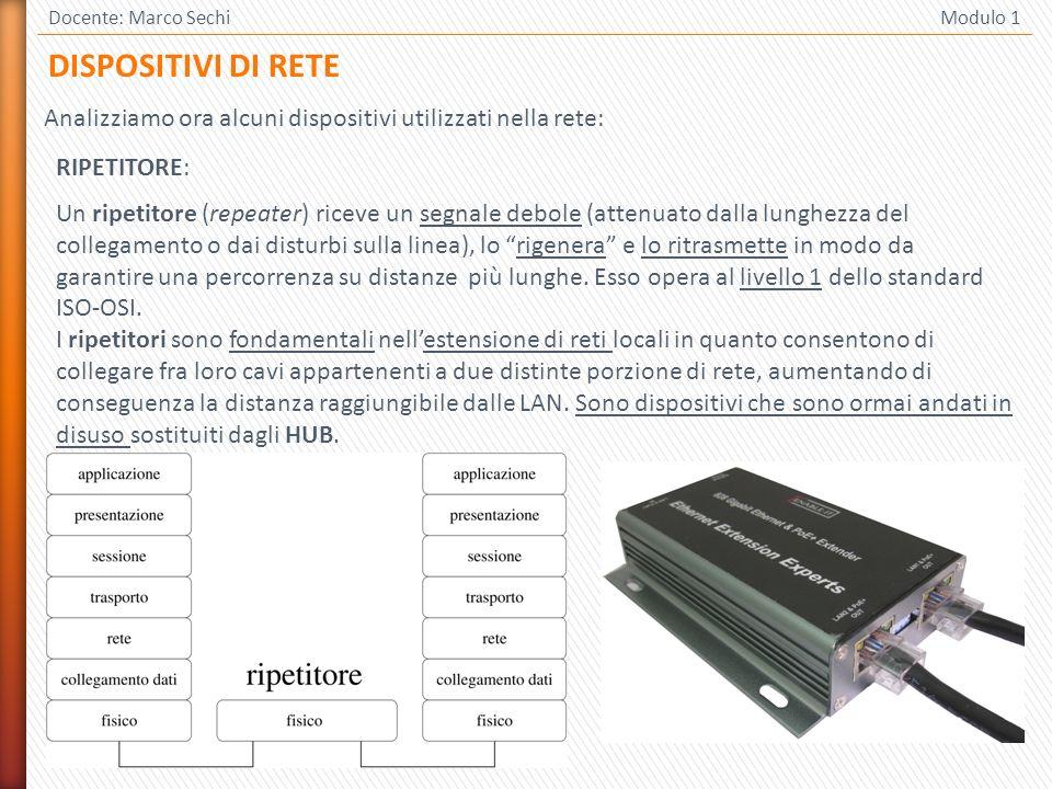 2 Docente: Marco Sechi Modulo 1 RIPETITORE: Un ripetitore (repeater) riceve un segnale debole (attenuato dalla lunghezza del collegamento o dai distur
