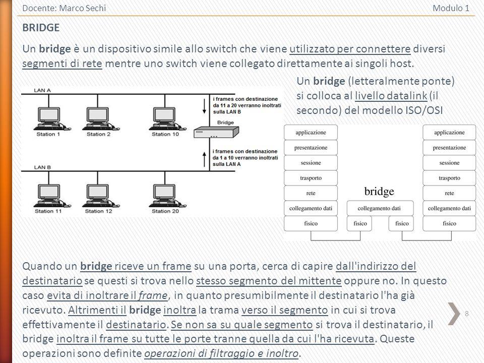 9 Docente: Marco Sechi Modulo 1 Il comportamento del bridge è dunque simile a quello dello switch per via della capacità di indirizzamento ma il suo ruolo nell architettura di una rete è anche simile a quello del repeater grazie alla capacità di inoltrare verso un altro segmento di rete.