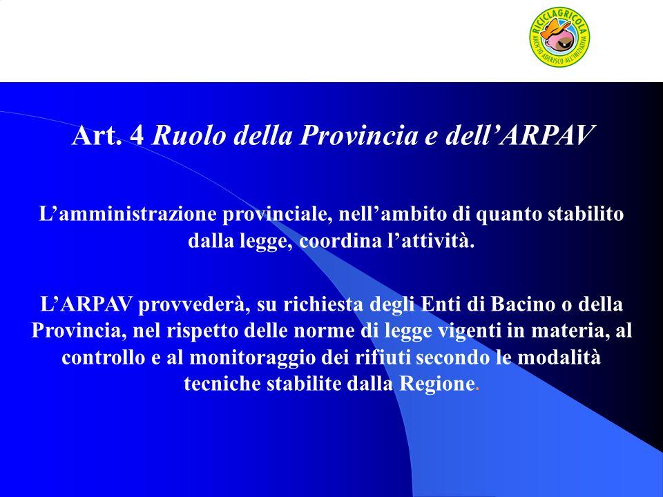 Art. 4 Ruolo della Provincia e dellARPAV Lamministrazione provinciale, nellambito di quanto stabilito dalla legge, coordina lattività. LARPAV provvede