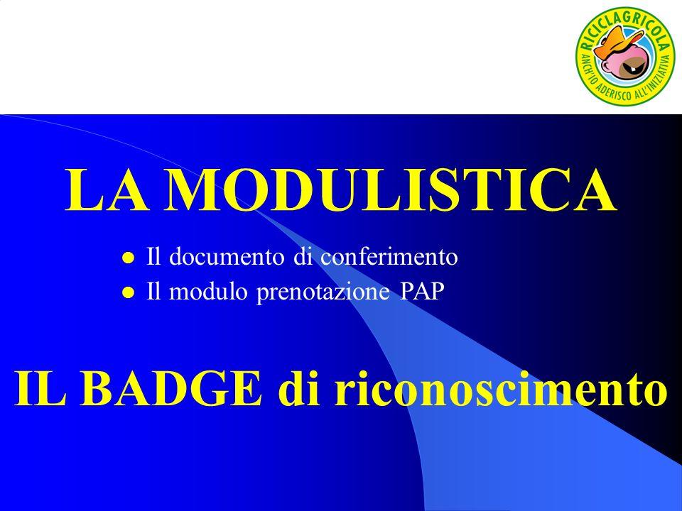 LA MODULISTICA l Il documento di conferimento l Il modulo prenotazione PAP IL BADGE di riconoscimento
