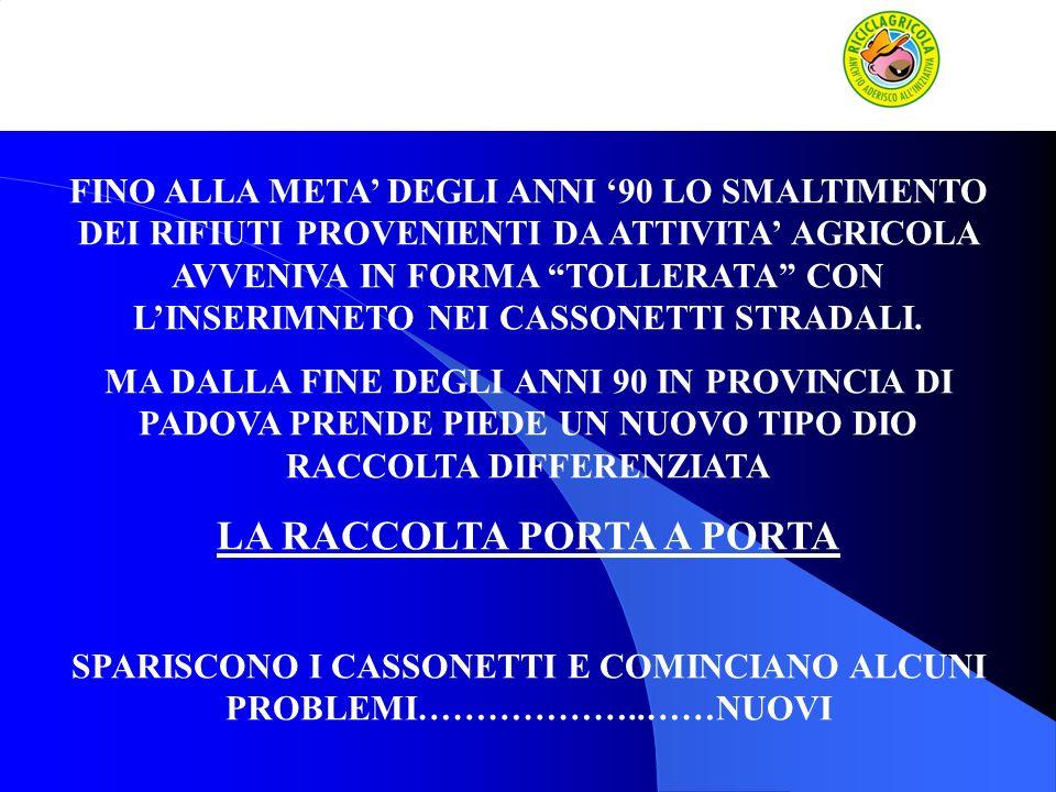 In data 16 settembre 1999 viene sottoscritto dalla Provincia di Padova, dagli Enti responsabili di Bacino (Consorzio PD1, PD2, PD3 e PD4 ) e dalle Organizzazioni Professionali Agricole (Coldiretti, Unione Provinciale Agricoltori e Confederazione Italiana Agricoltori), della Provincia di Padova, accordo riproposto il 24 luglio 2007 per adeguamenti normativi Accordo di Programma denominato Progetto Azienda Pulita.
