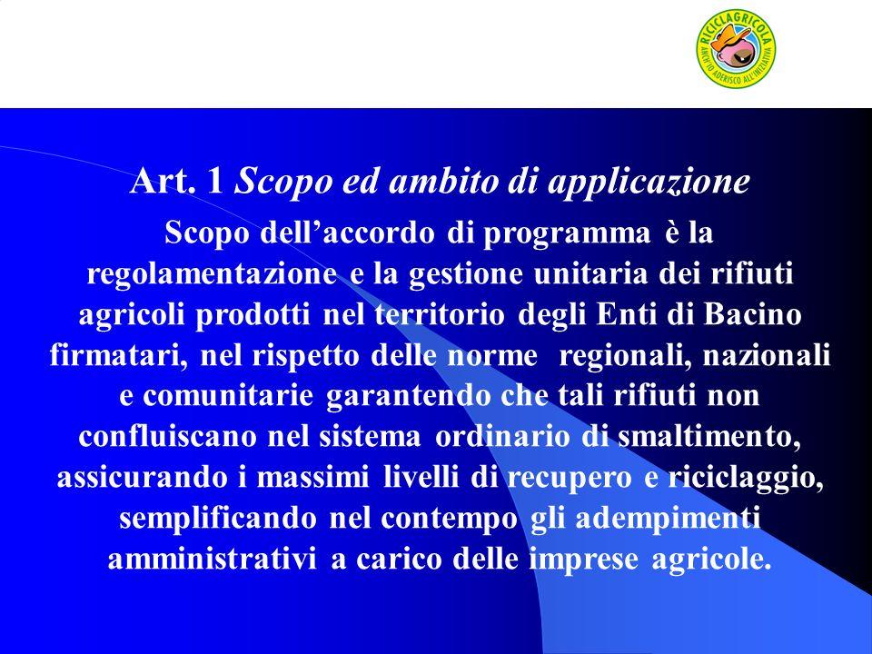 Art. 1 Scopo ed ambito di applicazione Scopo dellaccordo di programma è la regolamentazione e la gestione unitaria dei rifiuti agricoli prodotti nel t