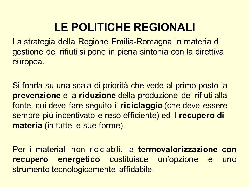 LE POLITICHE REGIONALI La strategia della Regione Emilia-Romagna in materia di gestione dei rifiuti si pone in piena sintonia con la direttiva europea