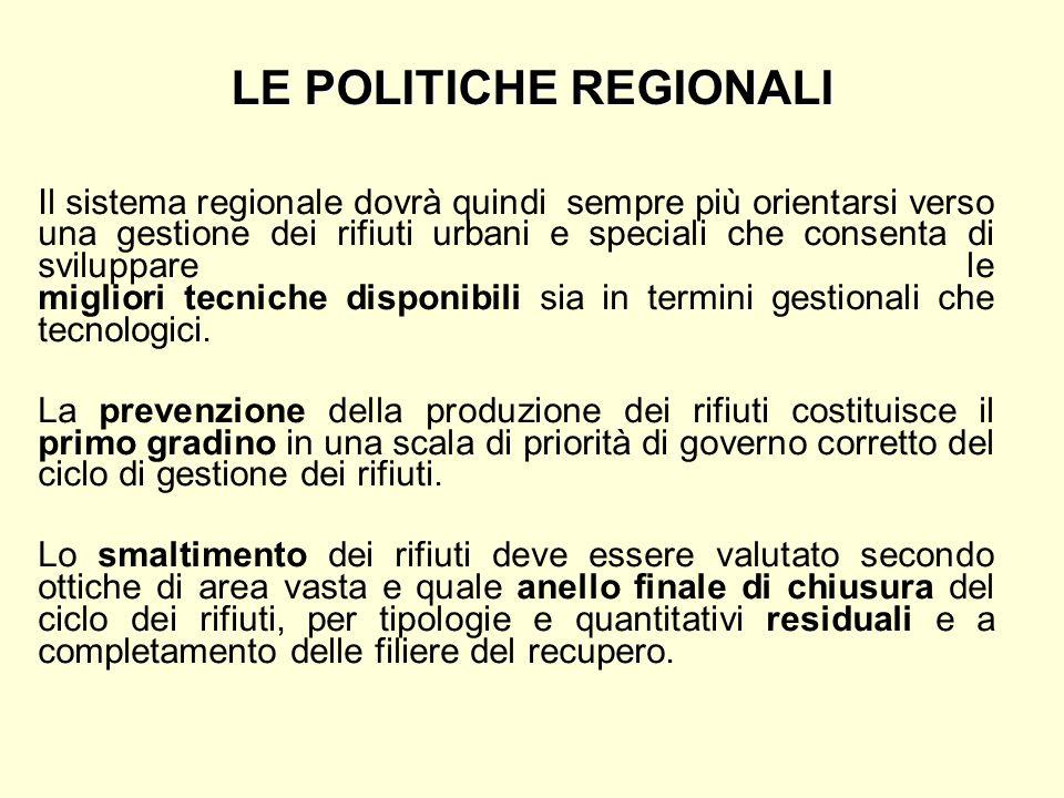 LE POLITICHE REGIONALI Il sistema regionale dovrà quindi sempre più orientarsi verso una gestione dei rifiuti urbani e speciali che consenta di svilup