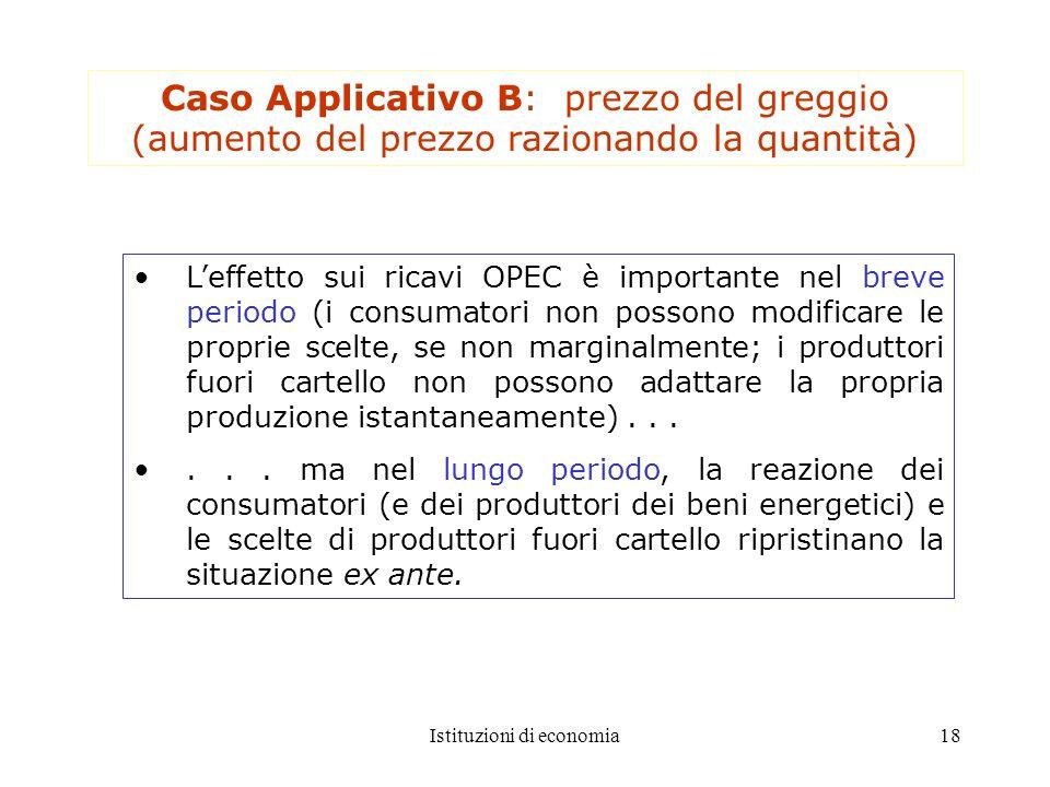 Istituzioni di economia18 Caso Applicativo B: prezzo del greggio (aumento del prezzo razionando la quantità) Leffetto sui ricavi OPEC è importante nel