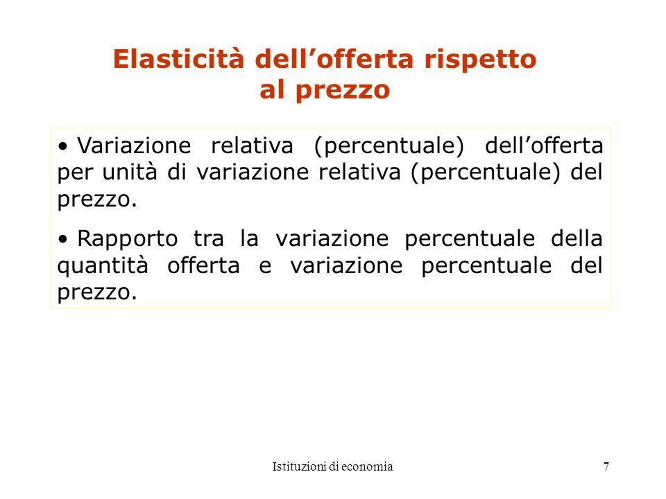 7 Elasticità dellofferta rispetto al prezzo Variazione relativa (percentuale) dellofferta per unità di variazione relativa (percentuale) del prezzo. R