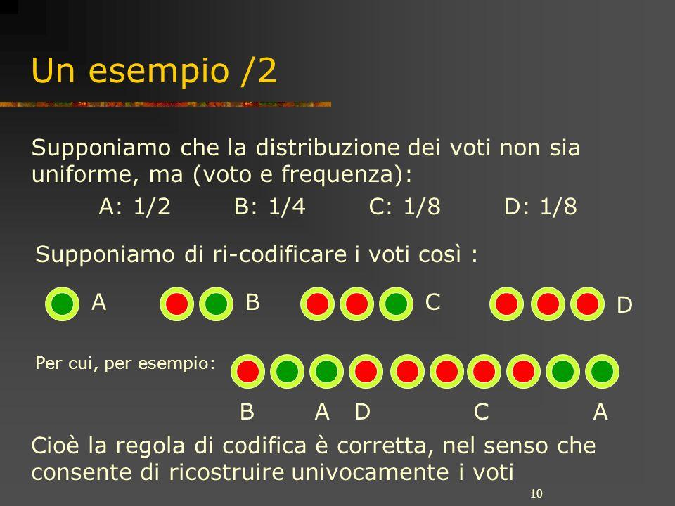 10 Un esempio /2 Supponiamo che la distribuzione dei voti non sia uniforme, ma (voto e frequenza): A: 1/2B: 1/4C: 1/8D: 1/8 A B C D Supponiamo di ri-codificare i voti così : B A D C A Per cui, per esempio: Cioè la regola di codifica è corretta, nel senso che consente di ricostruire univocamente i voti