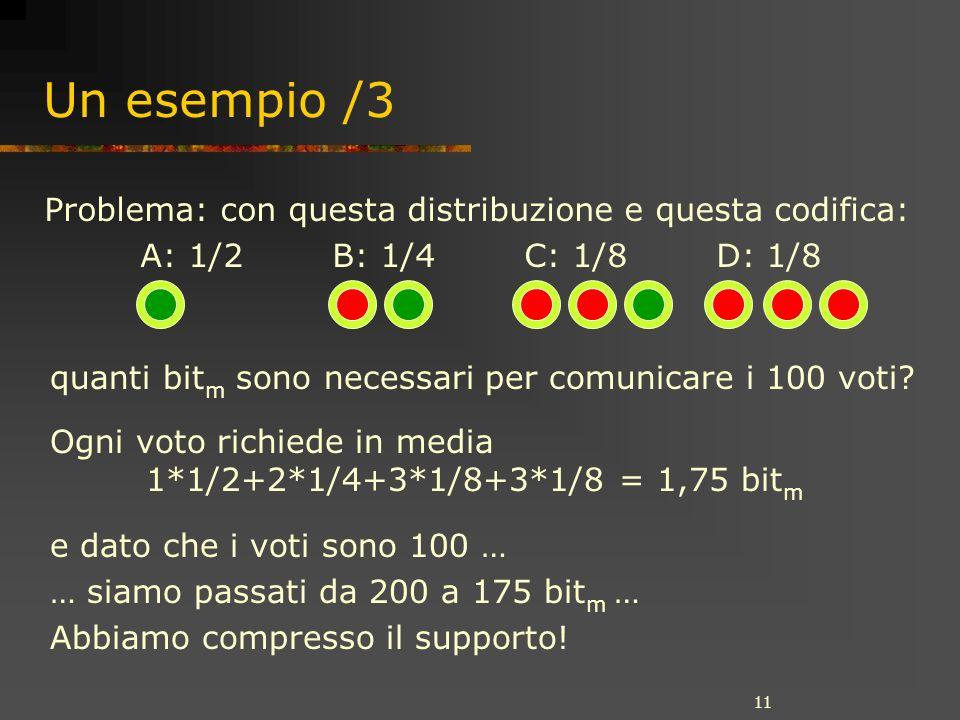 11 Un esempio /3 quanti bit m sono necessari per comunicare i 100 voti.