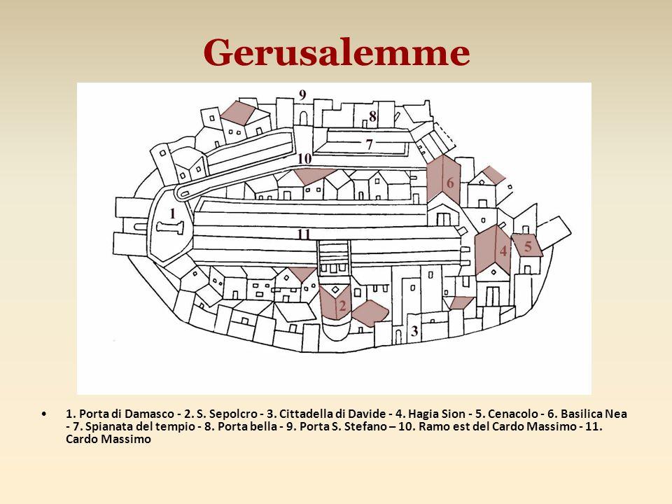 Gerusalemme 1. Porta di Damasco - 2. S. Sepolcro - 3. Cittadella di Davide - 4. Hagia Sion - 5. Cenacolo - 6. Basilica Nea - 7. Spianata del tempio -