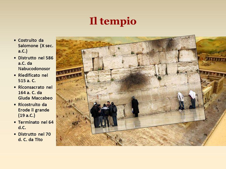 Il tempio Costruito da Salomone (X sec. a.C.) Distrutto nel 586 a.C. da Nabucodonosor Riedificato nel 515 a. C. Riconsacrato nel 164 a. C. da Giuda Ma