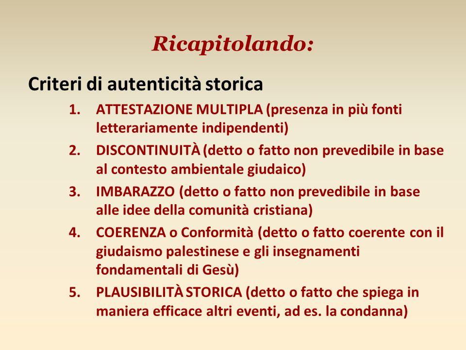 Ricapitolando: Criteri di autenticità storica 1.ATTESTAZIONE MULTIPLA (presenza in più fonti letterariamente indipendenti) 2.DISCONTINUITÀ (detto o fa