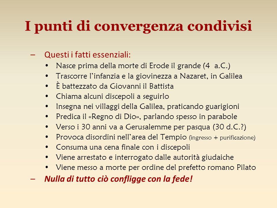 I punti di convergenza condivisi –Questi i fatti essenziali: Nasce prima della morte di Erode il grande (4 a.C.) Trascorre linfanzia e la giovinezza a