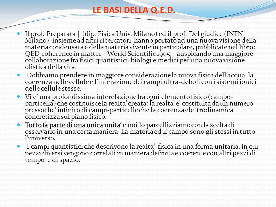 LE BASI DELLA Q.E.D. Il prof. Preparata (dip. Fisica Univ. Milano) ed il prof. Del giudice (INFN Milano), insieme ad altri ricercatori, hanno portato