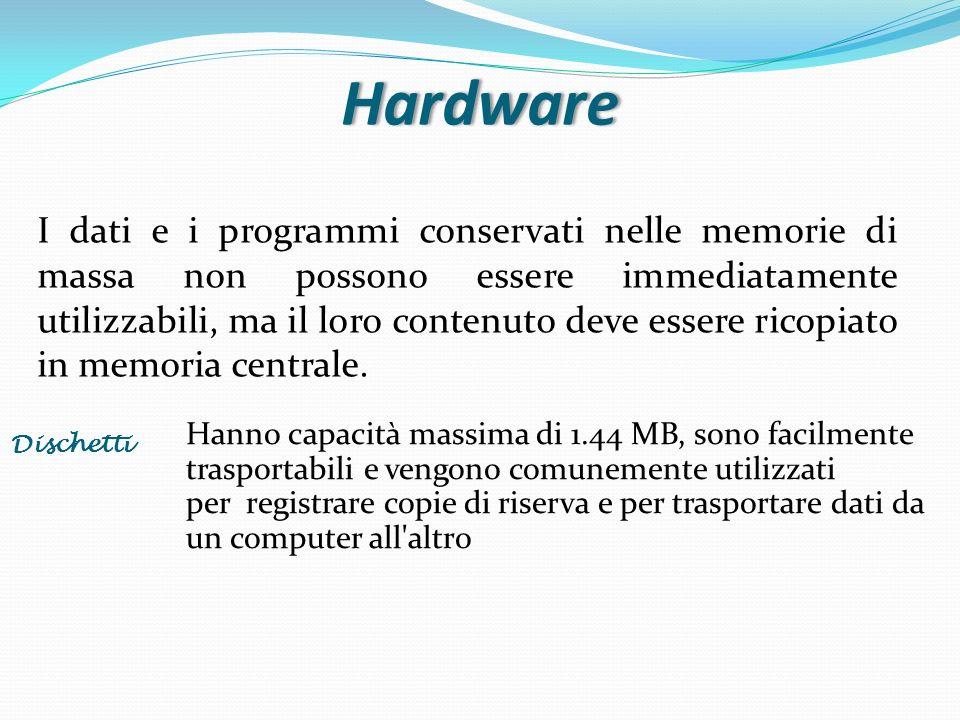 Hardware I dati e i programmi conservati nelle memorie di massa non possono essere immediatamente utilizzabili, ma il loro contenuto deve essere ricop