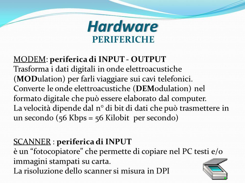 Hardware PERIFERICHE MODEM: periferica di INPUT - OUTPUT Trasforma i dati digitali in onde elettroacustiche (MODulation) per farli viaggiare sui cavi
