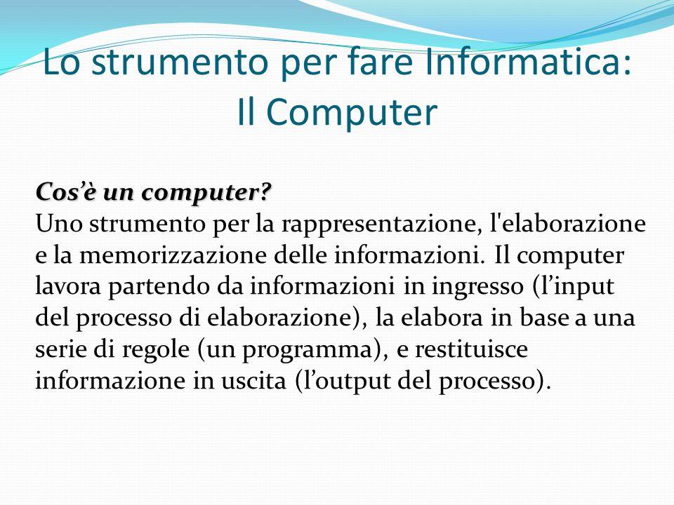 Lo strumento per fare Informatica: Il Computer Cosè un computer? Uno strumento per la rappresentazione, l'elaborazione e la memorizzazione delle infor