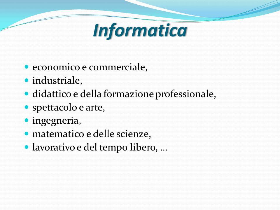 Informatica economico e commerciale, industriale, didattico e della formazione professionale, spettacolo e arte, ingegneria, matematico e delle scienz