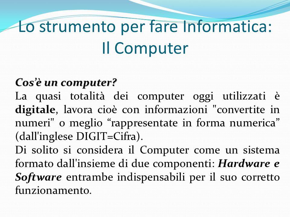 HardwareIl Computer: lHardware La ferraglia , la macchina e le sue periferiche, i componenti elettronici e meccanici che costituiscono l elaboratore, le parti del Computer che si possono toccare.