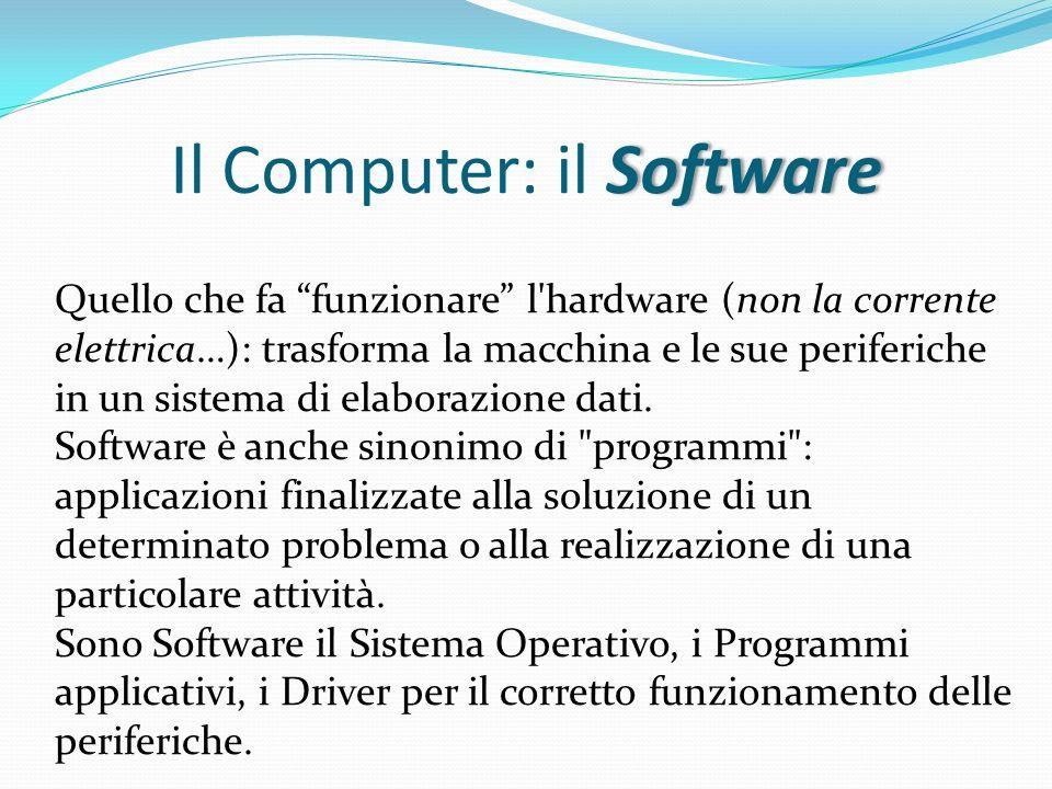 SoftwareIl Computer: il Software Quello che fa funzionare l'hardware (non la corrente elettrica…): trasforma la macchina e le sue periferiche in un si