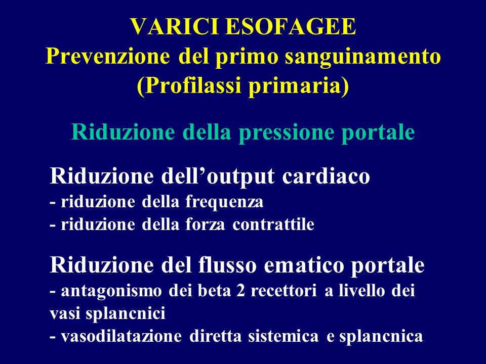 VARICI ESOFAGEE Prevenzione del primo sanguinamento (Profilassi primaria) Riduzione della pressione portale Riduzione delloutput cardiaco - riduzione