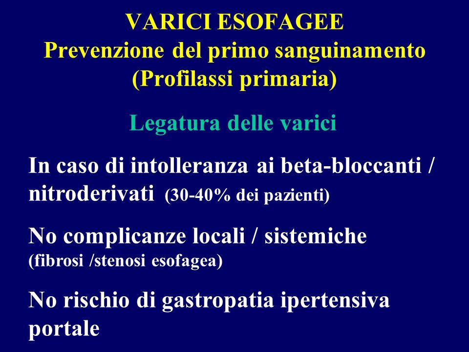 VARICI ESOFAGEE Prevenzione del primo sanguinamento (Profilassi primaria) Legatura delle varici In caso di intolleranza ai beta-bloccanti / nitroderiv
