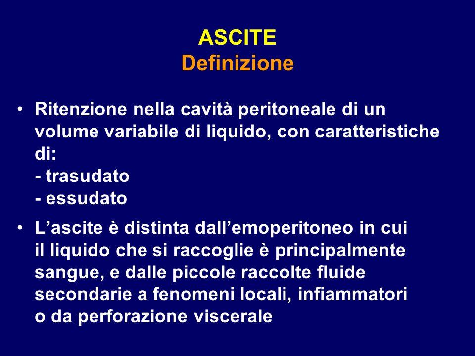 ASCITE Definizione Ritenzione nella cavità peritoneale di un volume variabile di liquido, con caratteristiche di: - trasudato - essudato Lascite è dis