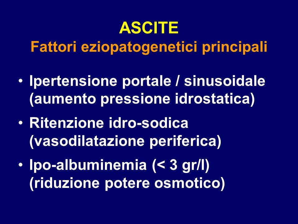 ASCITE Fattori eziopatogenetici principali Ipertensione portale / sinusoidale (aumento pressione idrostatica) Ritenzione idro-sodica (vasodilatazione