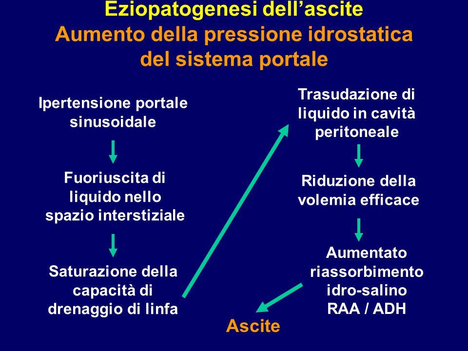 Eziopatogenesi dellascite Aumento della pressione idrostatica del sistema portale Ipertensione portale sinusoidale Fuoriuscita di liquido nello spazio
