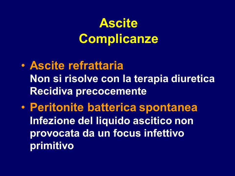 Ascite Complicanze Ascite refrattaria Non si risolve con la terapia diuretica Recidiva precocemente Peritonite batterica spontanea Infezione del liqui