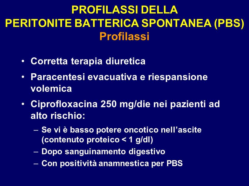 PROFILASSI DELLA PERITONITE BATTERICA SPONTANEA (PBS) Profilassi Corretta terapia diuretica Paracentesi evacuativa e riespansione volemica Ciprofloxac