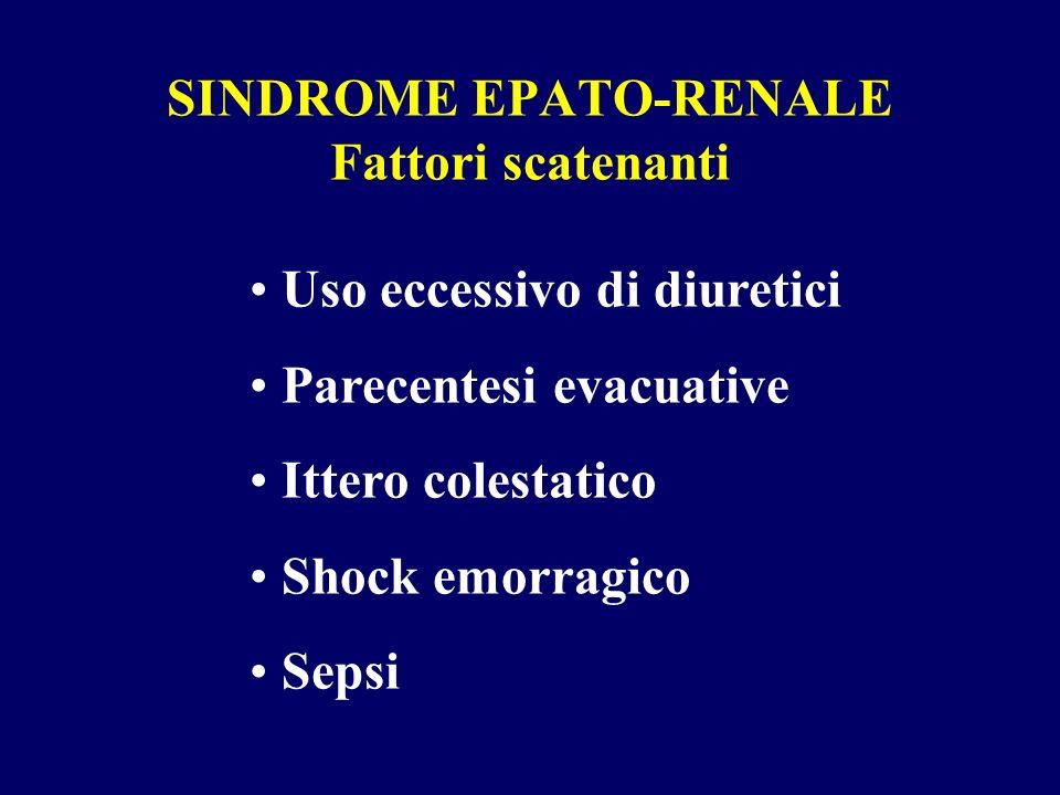 SINDROME EPATO-RENALE Fattori scatenanti Uso eccessivo di diuretici Parecentesi evacuative Ittero colestatico Shock emorragico Sepsi