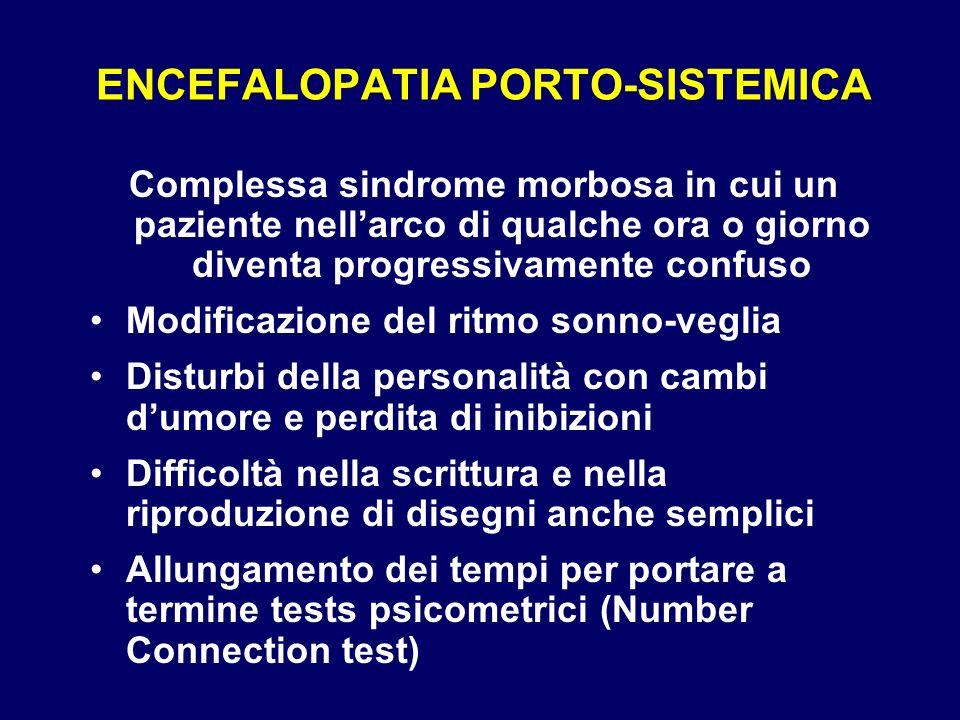 ENCEFALOPATIA PORTO-SISTEMICA Complessa sindrome morbosa in cui un paziente nellarco di qualche ora o giorno diventa progressivamente confuso Modifica