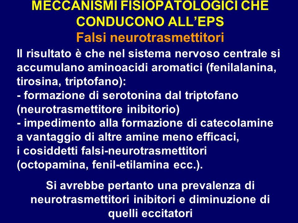 MECCANISMI FISIOPATOLOGICI CHE CONDUCONO ALLEPS Falsi neurotrasmettitori Il risultato è che nel sistema nervoso centrale si accumulano aminoacidi arom