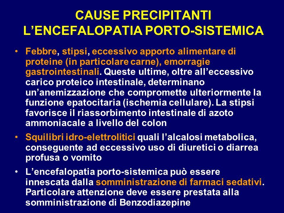 CAUSE PRECIPITANTI LENCEFALOPATIA PORTO-SISTEMICA Febbre, stipsi, eccessivo apporto alimentare di proteine (in particolare carne), emorragie gastroint