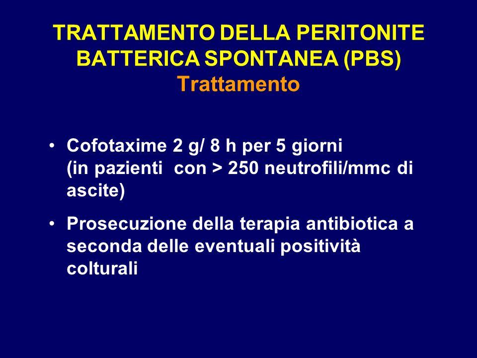 TRATTAMENTO DELLA PERITONITE BATTERICA SPONTANEA (PBS) Trattamento Cofotaxime 2 g/ 8 h per 5 giorni (in pazienti con > 250 neutrofili/mmc di ascite) P